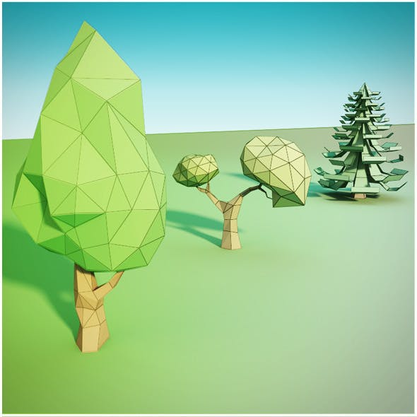 Trees low poly - 3DOcean Item for Sale