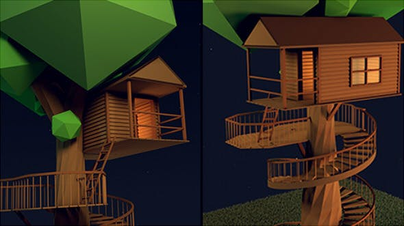 Low-Poly Tree House  - 3DOcean Item for Sale