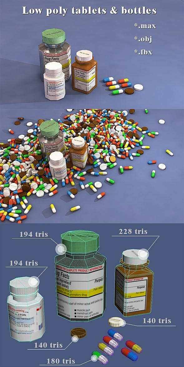 Low poly bottles, pill and capsule - 3DOcean Item for Sale