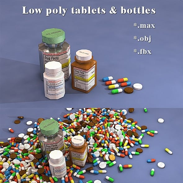 Low poly bottles, pill and capsule