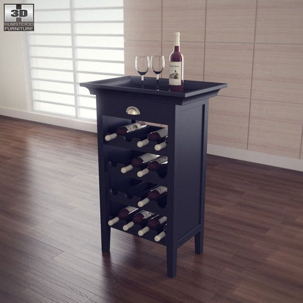 Black Wine Cabinet - Powell Furniture - 3DOcean Item for Sale