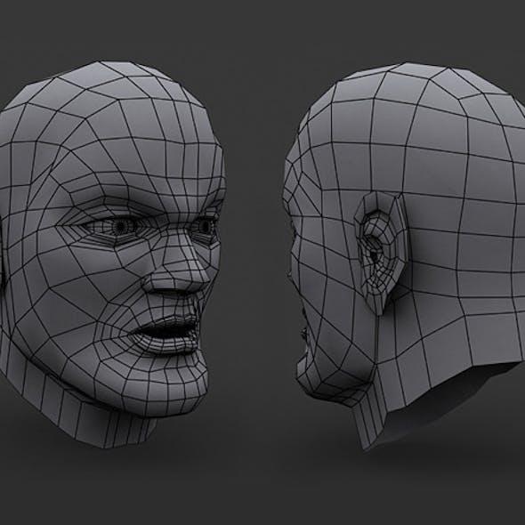 Human Comic Male Head Base Mesh