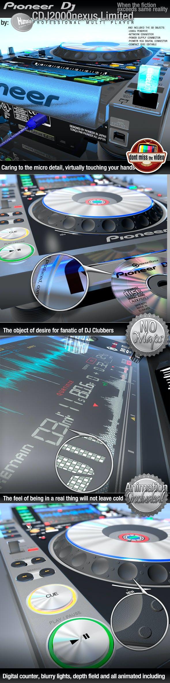 Realistic CD Player, Pioneer CDJ2000nexus limited - 3DOcean Item for Sale