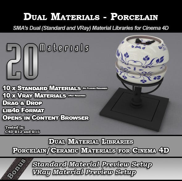 SMA's Dual Material Packs-Porcelain for Cinema 4D - 3DOcean Item for Sale