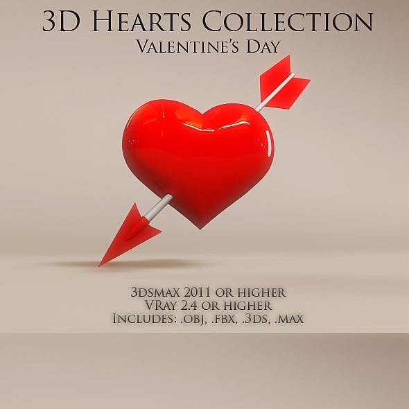 3D Hearts collection Valentine's day