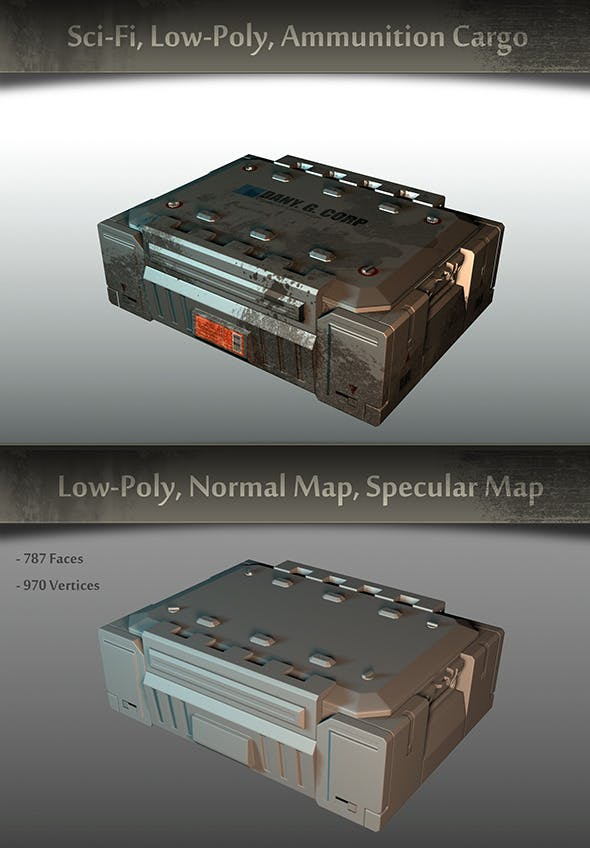 Sci-fi, Low-Poly, Ammunition Cargo - 3DOcean Item for Sale