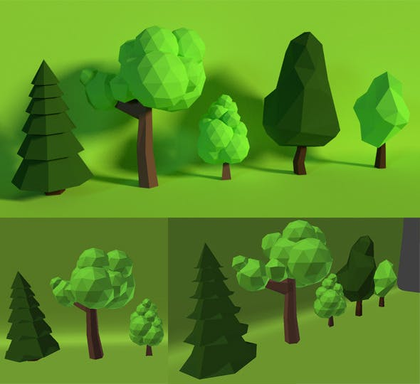 LowPoly Trees .Pack6 - 3DOcean Item for Sale