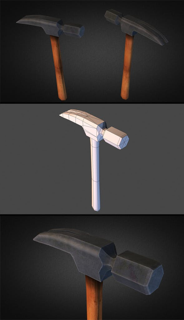 Hammer Low Poly - 3DOcean Item for Sale