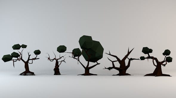 Low Poly Cursed Trees Pack 1 - 3DOcean Item for Sale