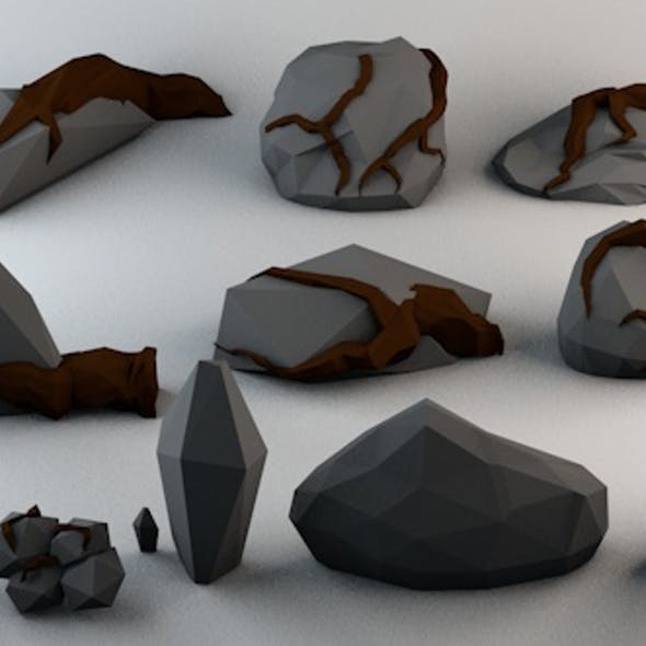 Low Poly Cursed Rocks Pack 1