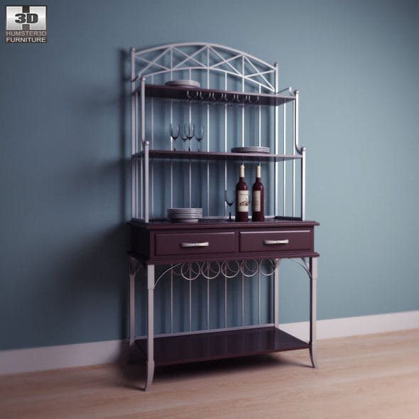 Bordbeaux Server with Bakers Rack in Birch - Home  - 3DOcean Item for Sale