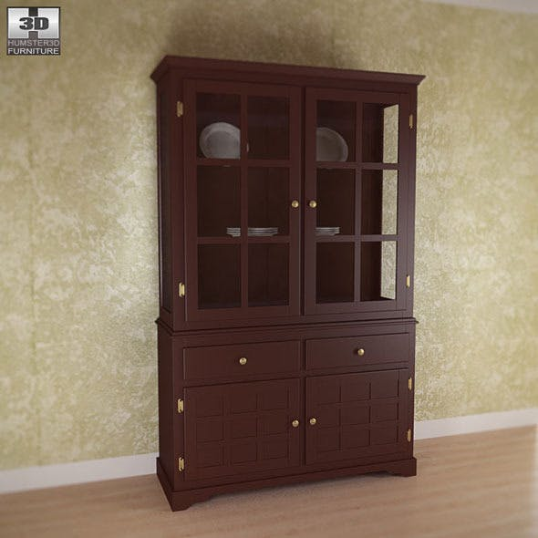 Buffet and Hutch in Deep Cappuccino - Coaster - 3DOcean Item for Sale