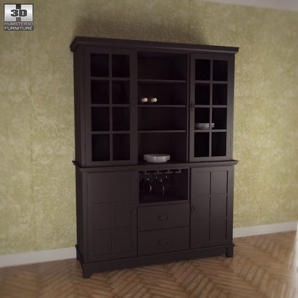 Buffet and Hutch in Ebony - Arts and Crafts - 3DOcean Item for Sale
