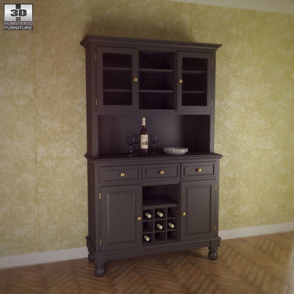 Buffet and Hutch in Black - Home Styles - 3DOcean Item for Sale