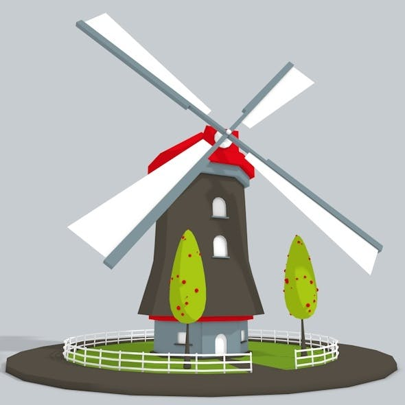 3D WindMill Low Poly
