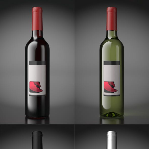 Wine bottles / with scene