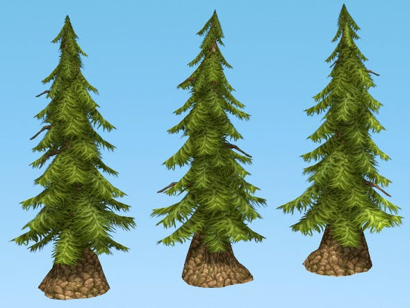 Hand painted Pine Tree - 3DOcean Item for Sale