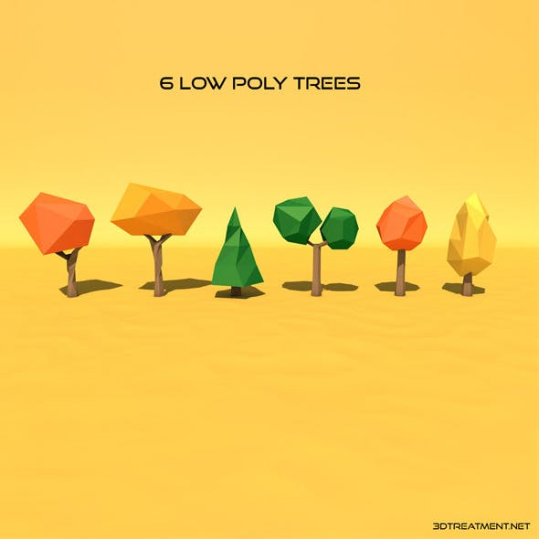 6 Low Poly Trees