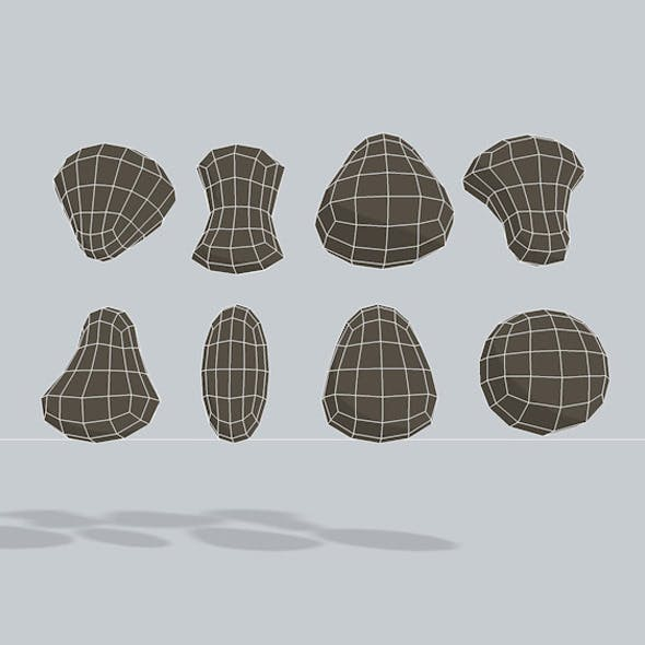 3D Character heads Low Poly - 3DOcean Item for Sale