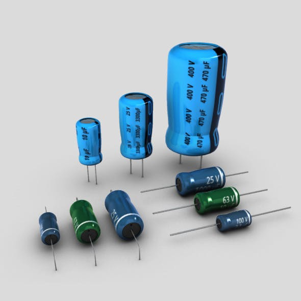 Electrolytic Capacitors Set - 3DOcean Item for Sale