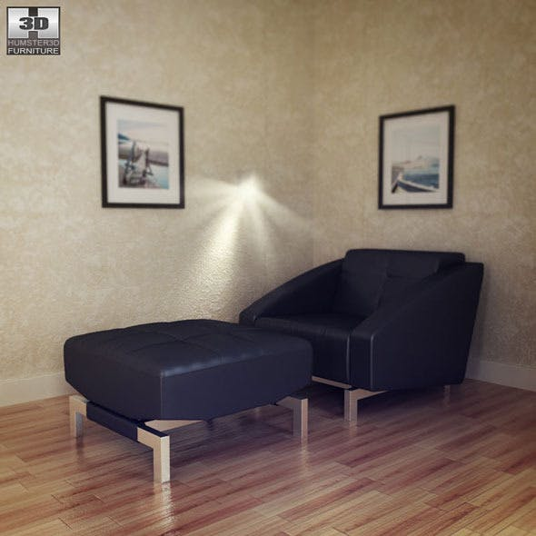 Chair with Ottoman in Black - Quadro Vega - 3DOcean Item for Sale
