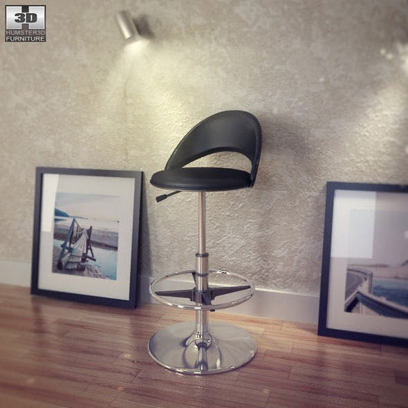 Chintaly Black Bar Stool - Chintaly Furniture - 3DOcean Item for Sale