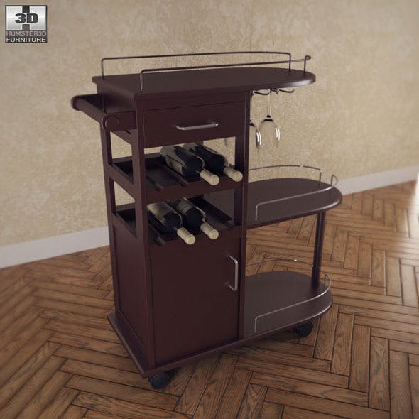 Entertainment Wine Cart - Winsome Trading - 3DOcean Item for Sale