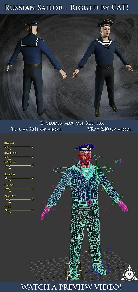 Russian Sailor Character - Full Rig - 3DOcean Item for Sale