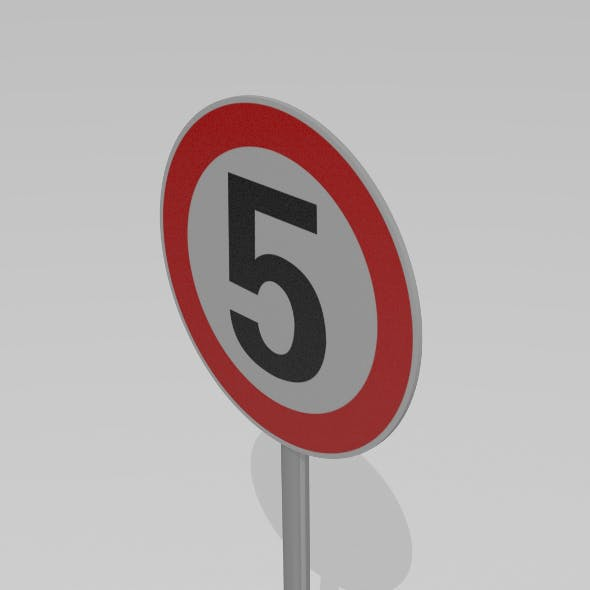 5 Speed limit sign - 3DOcean Item for Sale