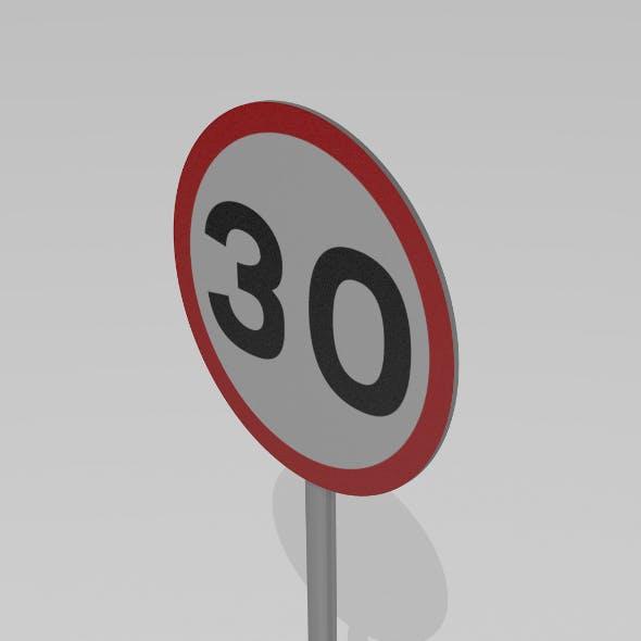 30 Speed limit sign