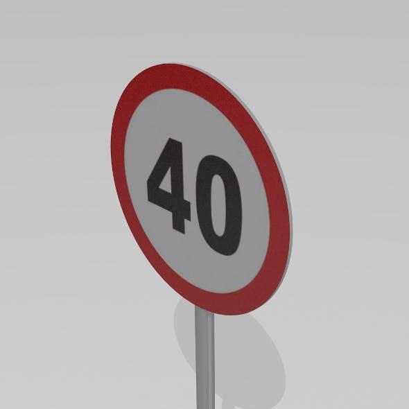 40 Speed limit sign