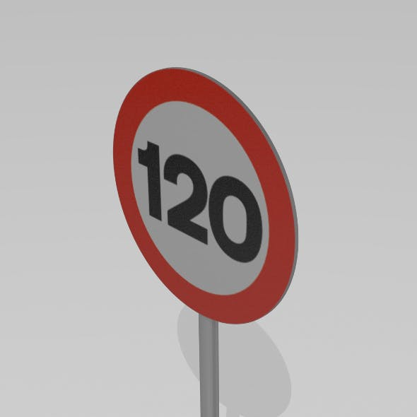 120 Speed limit sign - 3DOcean Item for Sale