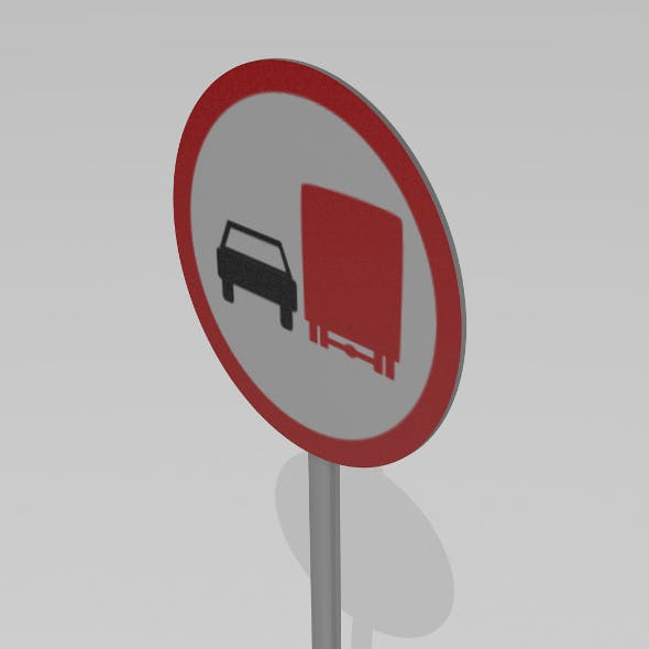 Do not overtake heavy vehicles sign - 3DOcean Item for Sale