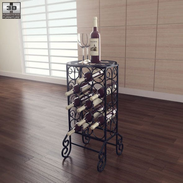 Glass Top Wine Table - Southern Enterprises - 3DOcean Item for Sale