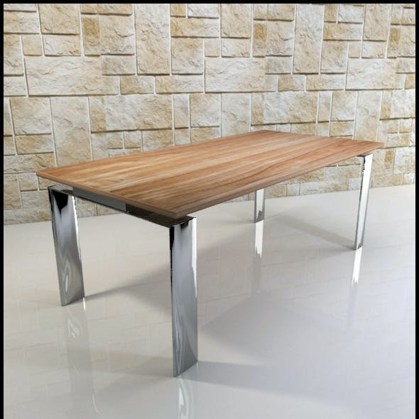 Dining table (chrome and wood)