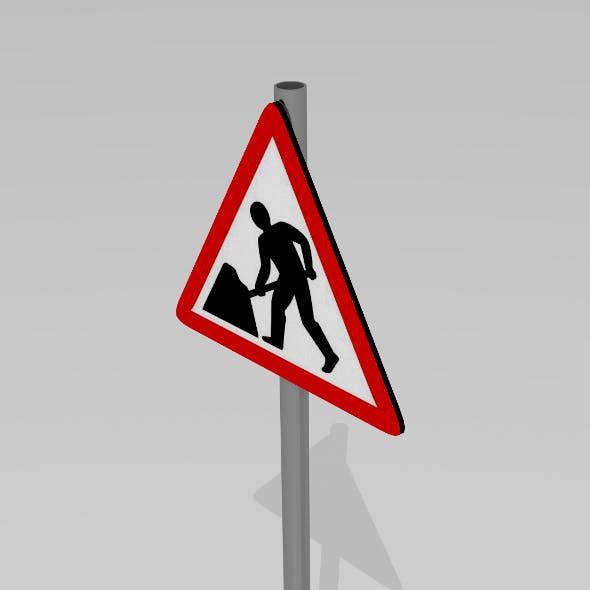 Road work ahead sign - 3DOcean Item for Sale
