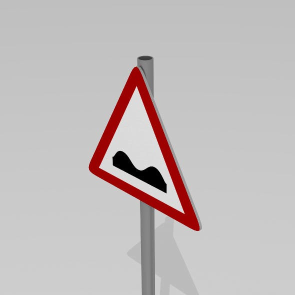 Speed bumps sign - 3DOcean Item for Sale
