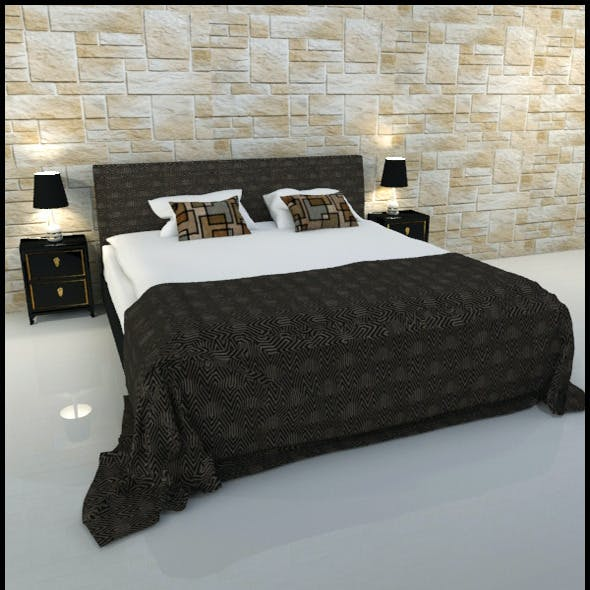 Double bed with oriental bedside tables and lamps