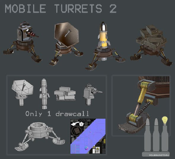 MOBILE TURRET PACK 2 - 3DOcean Item for Sale