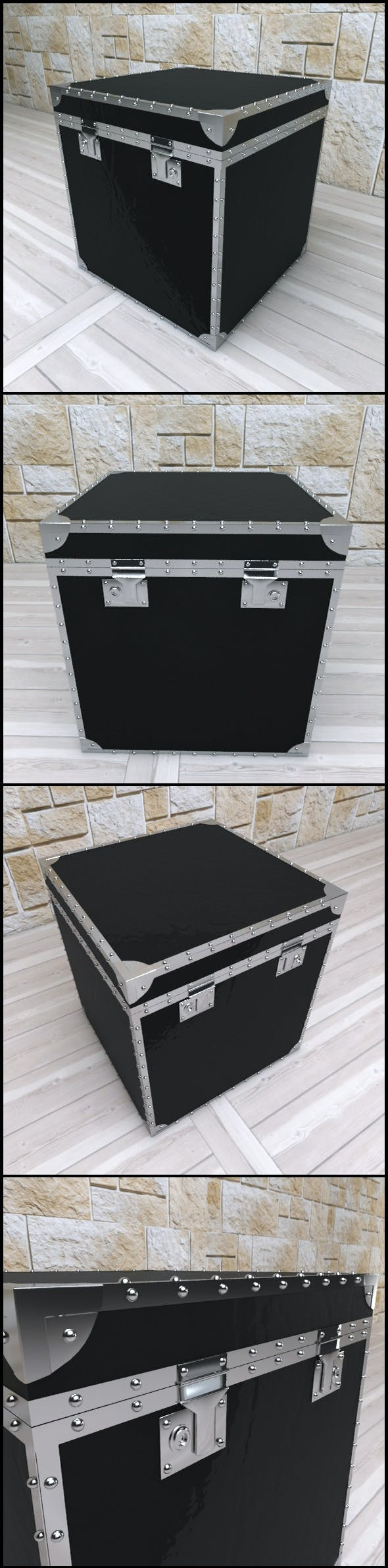 Andrew Martin: Black Gloss Leather Side Chest - 3DOcean Item for Sale