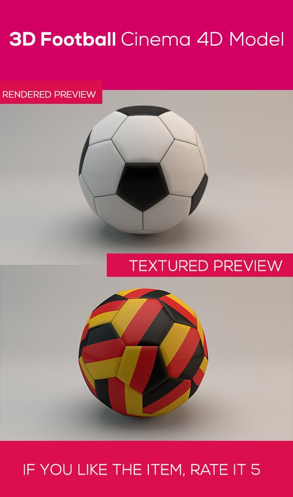3D Football Cinema 4D Model - 3DOcean Item for Sale