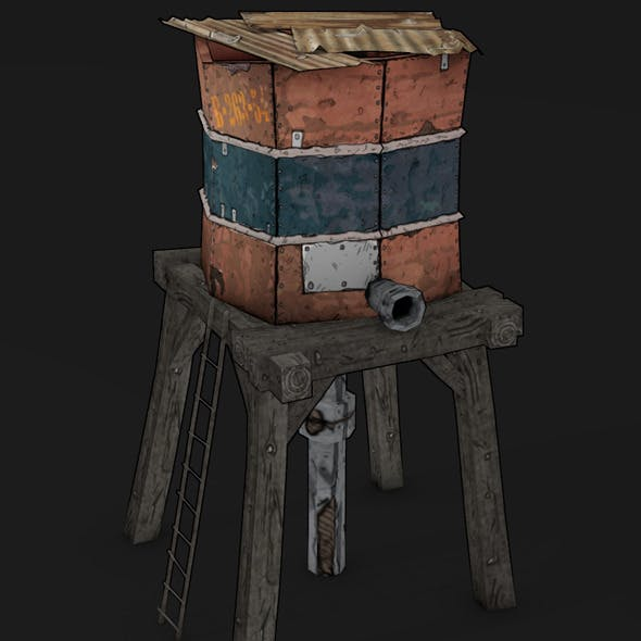 POSTAPO WATER TANK LOW POLY TOON - 3DOcean Item for Sale