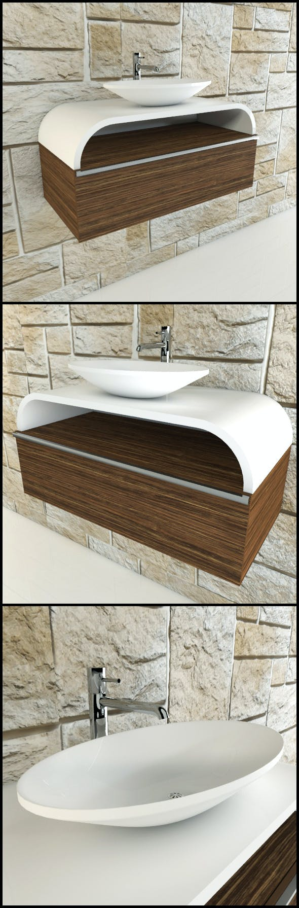 Toilet basin with chrome tap and wood panels - 3DOcean Item for Sale