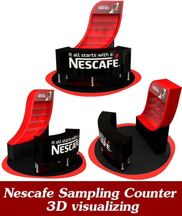 Nescafe Sampling Counter 3D visualizing - 3DOcean Item for Sale