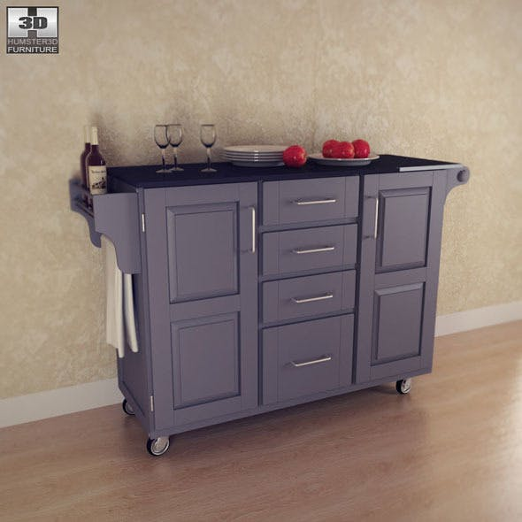 Kitchen Cart - Large Black - Home Styles - 3DOcean Item for Sale