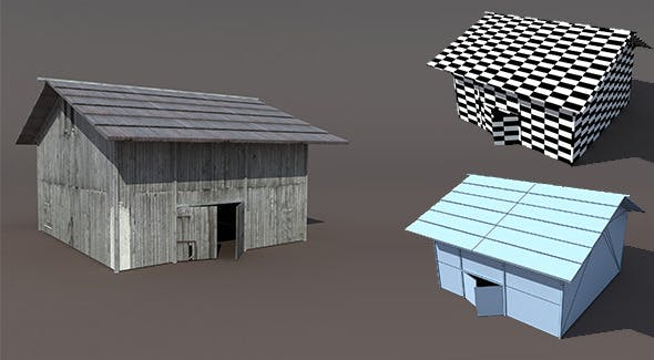 Old Barn Low poly 3d Model - 3DOcean Item for Sale