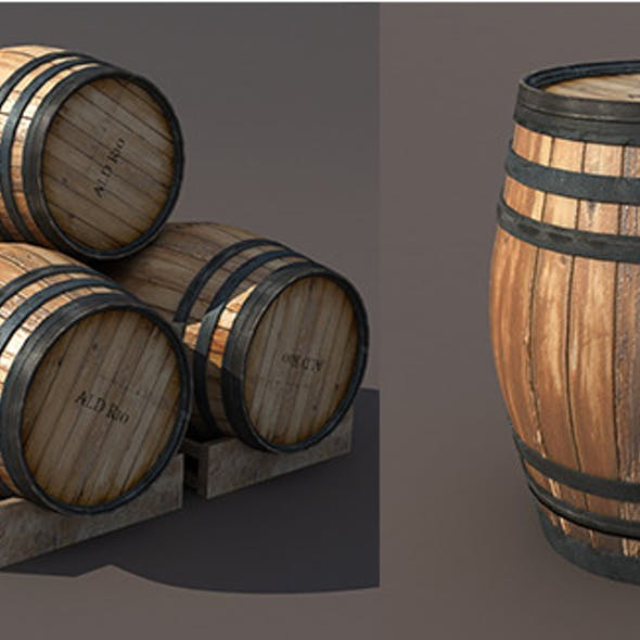 Wooden Barrel Low poly 3d Model