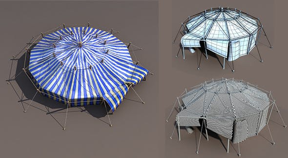 Blue Circus Tent - 3DOcean Item for Sale