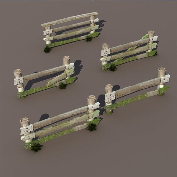 Wood Fence Low Poly
