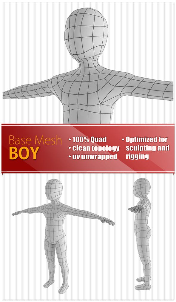 Boy Base Mesh - 3DOcean Item for Sale